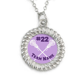 Lacrosse Braided Circle Necklace Team Name and Number Crossed Sticks