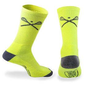 Lacrosse Woven Mid-Calf Socks - Crossed Sticks (Neon/Gray)