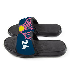 Girls Lacrosse Repwell™ Slide Sandals - Stick and Number Reflected