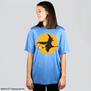 Girls Lacrosse Short Sleeve Performance Tee - Witch Riding Lacrosse Stick