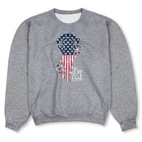 Girls Lacrosse Crew Neck Sweatshirt - Patriotic Lax Girl