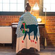 Girls Lacrosse Premium Blanket - LuLa the Christmas Lax Dog