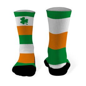 Printed Mid Calf Socks Shamrock with Stripes
