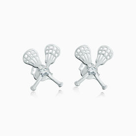 Livia Collection Sterling Silver Crossed Lacrosse Sticks with Cubic Zirconia Post Earrings