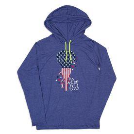 Girls Lacrosse Lightweight Hoodie - Patriotic LAX Girl