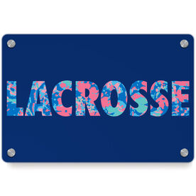 Girls Lacrosse Metal Wall Art Panel - Floral