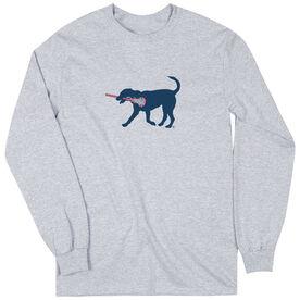 Girls Lacrosse Long Sleeve T-Shirt - LuLa The Lax Dog(Blue)