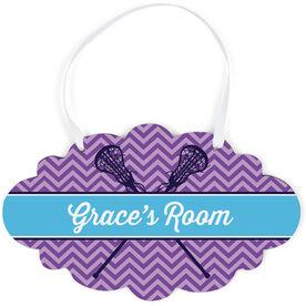 Girls Lacrosse Cloud Sign - Personalized Girl Lacrosse Sticks Chevron