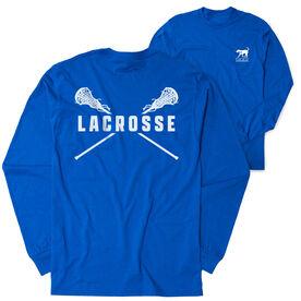 Girls Lacrosse Tshirt Long Sleeve - Crossed Girls Sticks (Logo Collection)