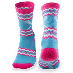 Girls Lacrosse Woven Mid Calf Socks - Aztec (Neon Blue)