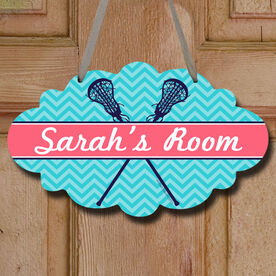 Personalized Girl Lacrosse Sticks Chevron Decorative Cloud Sign