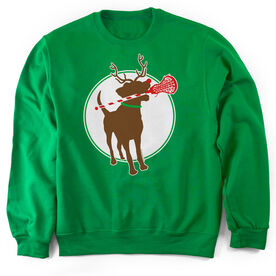 Girls Lacrosse Crew Neck Sweatshirt Jingles the Reindeer Lax Dog