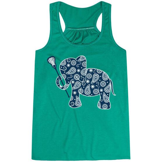 Girls Lacrosse Flowy Racerback Tank Top - Lax Elephant