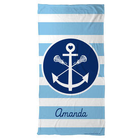 Lacrosse Beach Towel Personalized Sticks Anchor