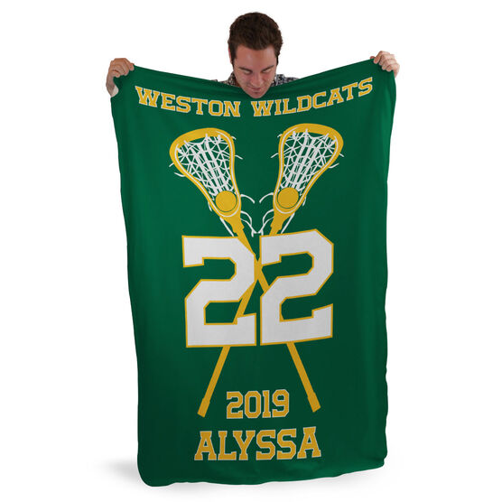 Girls Lacrosse Sherpa Fleece Blanket - Personalized Team with Crossed Sticks