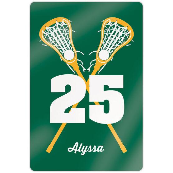 "Girls Lacrosse 18"" X 12"" Aluminum Room Sign - Personalized Crossed Girl Sticks"