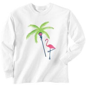 Girls Lacrosse Long Sleeve T-Shirt - Palm Tree and Flamingo