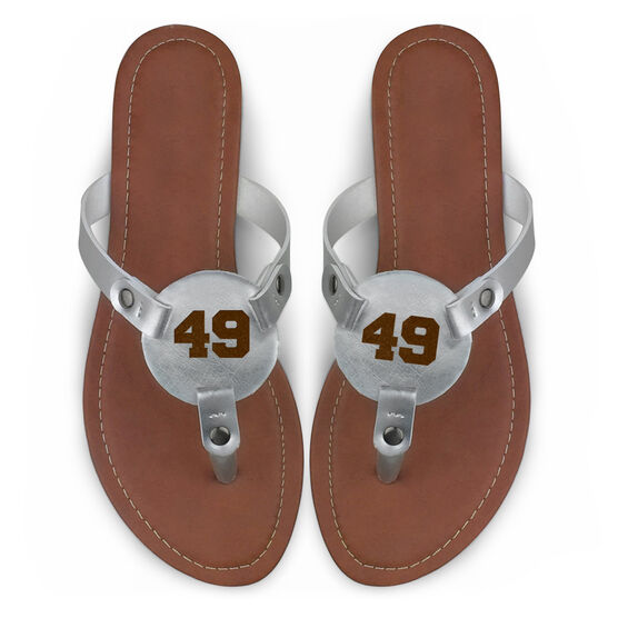 Personalized Engraved Thong Sandal Athletic Number