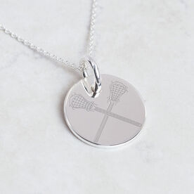 Sterling Silver 20 mm Circle Necklace Lacrosse