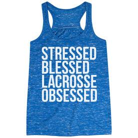 Lacrosse Flowy Racerback Tank Top - Stressed Blessed Lacrosse Obsessed