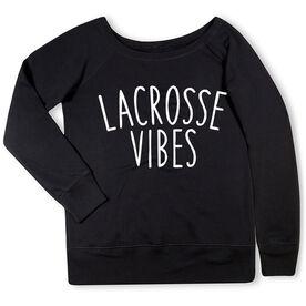 Girls Lacrosse Fleece Wide Neck Sweatshirt - Lacrosse Vibes