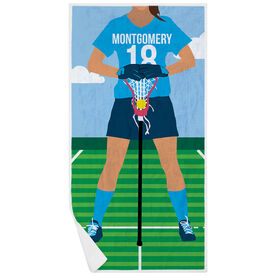 Girls Lacrosse Premium Beach Towel - Player