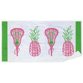 Girls Lacrosse Premium Beach Towel - Lax Pineapple