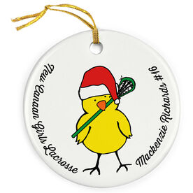 Lacrosse Porcelain Ornament Chick with Santa Hat