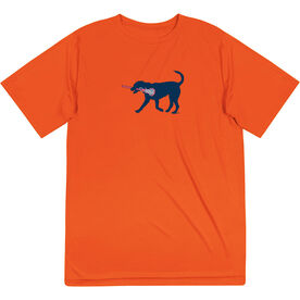 Girls Lacrosse Short Sleeve Performance Tee - LuLa the Lax Dog(Blue)