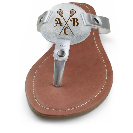 Girls Lacrosse Engraved Thong Sandal Crossed Sticks with Your Initials