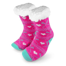 Lacrosse Slipper Socks with Sherpa Lining (Pink)