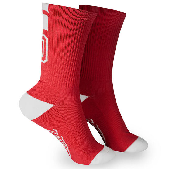 Team Number Woven Mid Calf Socks - Red