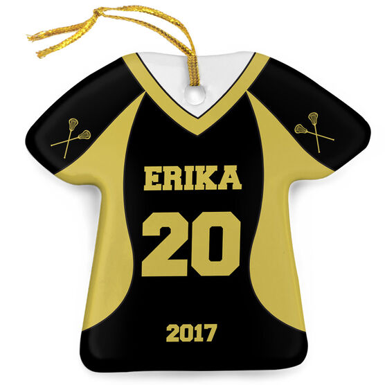 Girls Lacrosse Porcelain Ornament Personalized Jersey