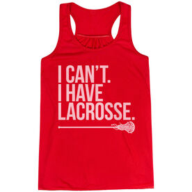 Girls Lacrosse Flowy Racerback Tank Top - I Can't. I Have Lacrosse