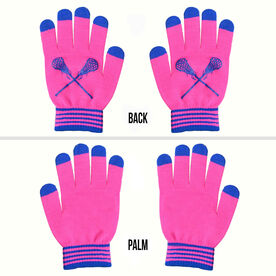 Lacrosse Touchscreen Knit Gloves - Neon Pink/Blue