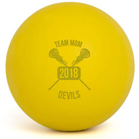 Lacrosse Team Mom Crossed Sticks Female Laser Engraved Lacrosse Ball (Yellow Ball)