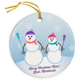 Girls Lacrosse Porcelain Ornament Mom Snowman