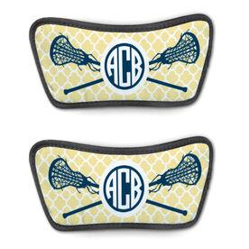 Girls Lacrosse Repwell™ Sandal Straps - Personalized Monogram Sticks with Quatrefoil Pattern