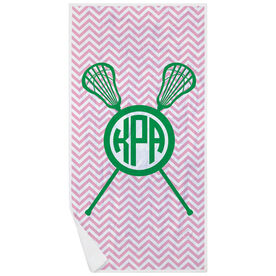 Girls Lacrosse Premium Beach Towel - Monogram with Crossed Sticks and Chevron