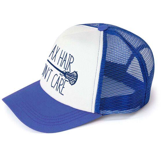 Girls Lacrosse Trucker Hat Lax Hair Don't Care
