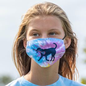 Girls Lacrosse Face Mask - LuLa the Lax Dog Tie-Dye