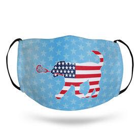 Girls Lacrosse Face Mask - Patriotic LuLa the Lax Dog