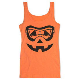 Girls Lacrosse Women's Athletic Tank Top - Lacrosse Goggle Pumpkin Face