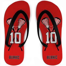 333fe9aee Girls Lacrosse Flip Flops Personalized Lacrosse Player with Crossed Sticks