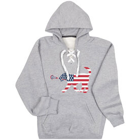 Girls Lacrosse Sport Lace Sweatshirt Patriotic LuLa the Lax Dog