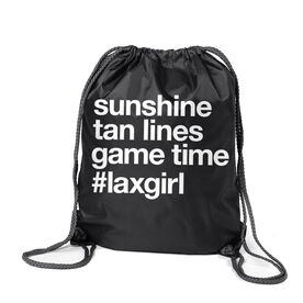 Girls Lacrosse Sport Pack Cinch Sack - Sunshine Tan Lines Game Time