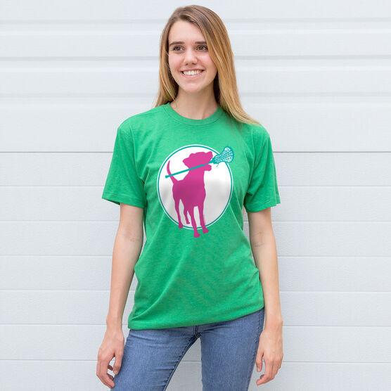 Girls Lacrosse Short Sleeve T-Shirt - Lacrosse Dog with Girl Stick
