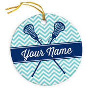 Girls Lacrosse Porcelain Ornament Personalized Sticks with Chevron Pattern