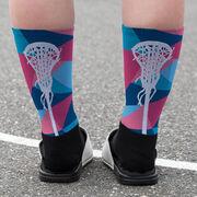 Girls Lacrosse Printed Mid-Calf Socks - Prism