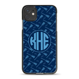 Girls Lacrosse iPhone® Case - Monogrammed Pattern Sticks
